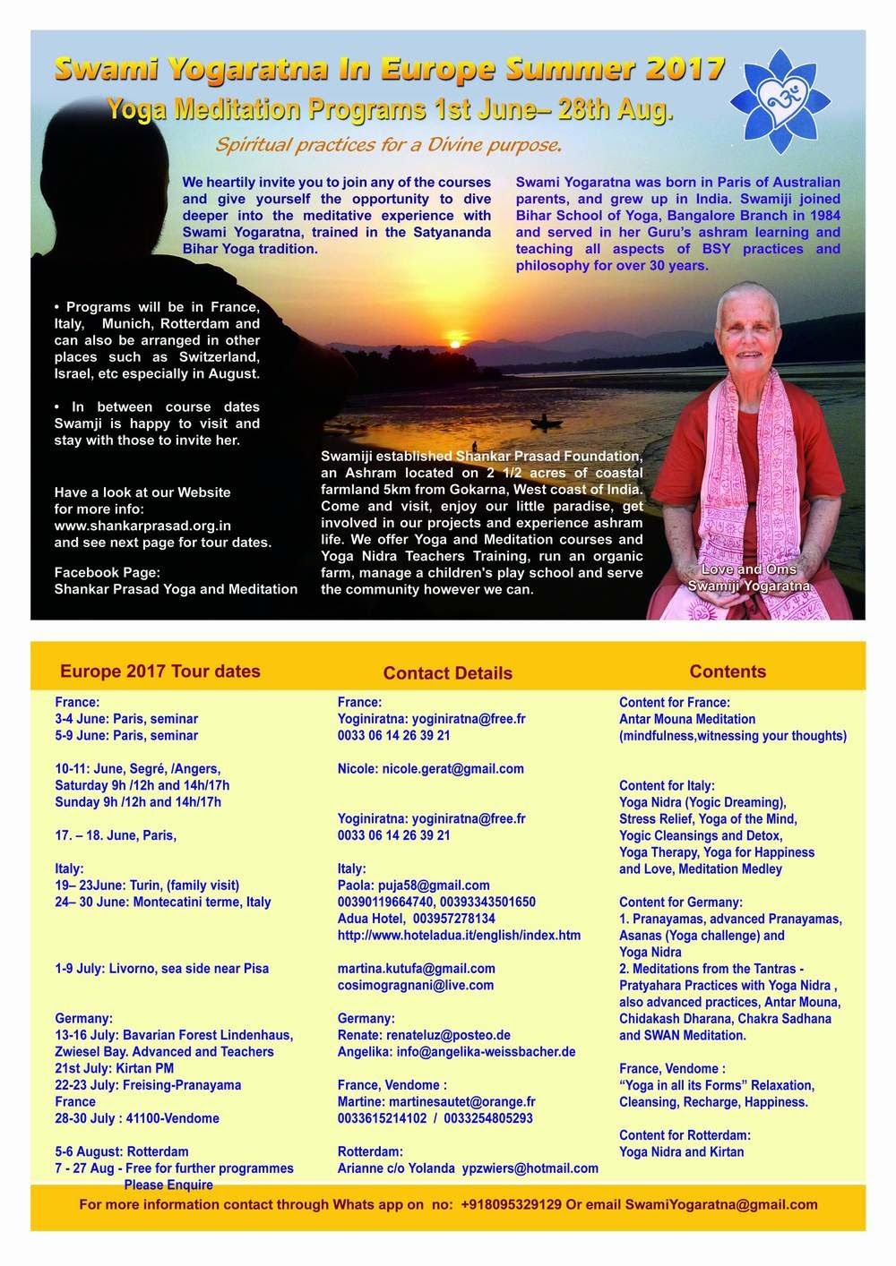 SWAMI YOGARATNA IN EUROPE SUMMER 2017